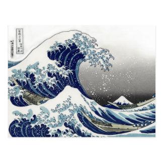 PixDezines Vintag, große Welle, Hokusai 葛飾北斎の神奈川沖浪 Postkarte