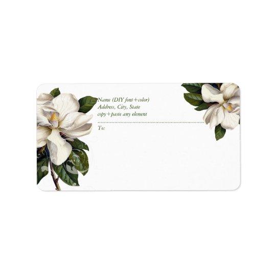PixDezines Vintage botanische Magnolie Adressetiketten