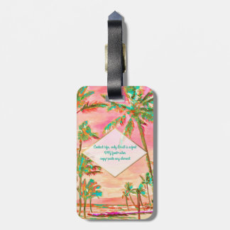 PixDezines Vintage hawaiische Strand Szene/Rosa Gepäckanhänger