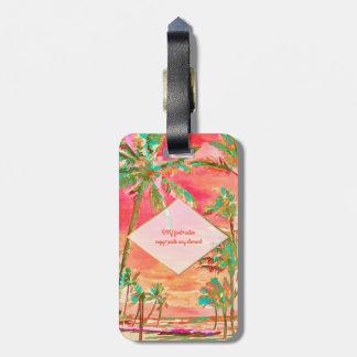 PixDezines Vintage hawaiische Strandszene/-koralle Gepäckanhänger