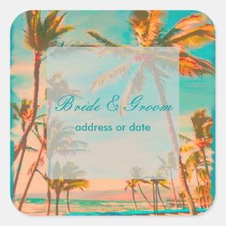 PixDezines Vintage Strandszene Quadratischer Aufkleber