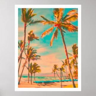 PixDezines Vintager hawaiischer Strand Poster