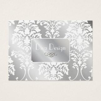 PixDezines Weiß-Damast + Silberner Ton Jumbo-Visitenkarten