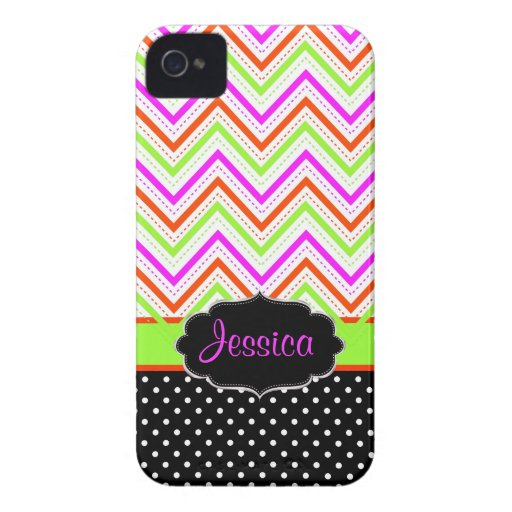 PixDezines Zickzack Hintergrundfarbe Neons Case-Mate iPhone 4 Hülle