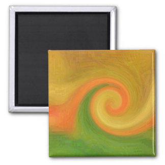 Pixel-abstrakter Herbst-Strudel Quadratischer Magnet