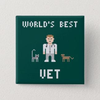 Pixel-bester Tierarzt-Knopf Quadratischer Button 5,1 Cm