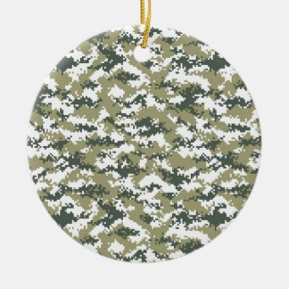 Pixel-Camouflage Rundes Keramik Ornament