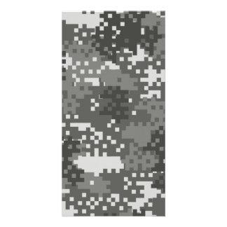 Pixel-graue u. weiße städtische Tarnung Individuelle Foto Karten