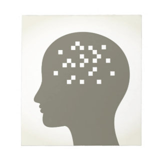 Pixel in einem Kopf Notizblock