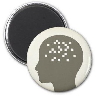 Pixel in einem Kopf Runder Magnet 5,7 Cm