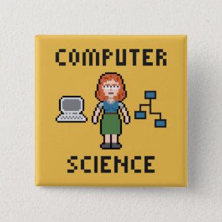 Pixel-Informatik - Frau - Knopf Quadratischer Button 5,1 Cm