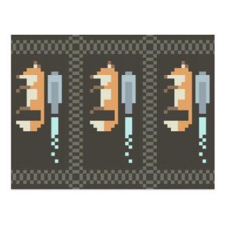 Pixel-Kunst-Postkarten Fox Jetpack Postkarte