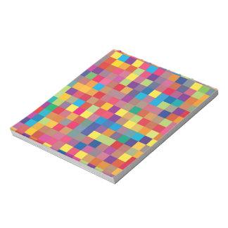 Pixel-Regenbogen-Quadrat-Muster Notizblock