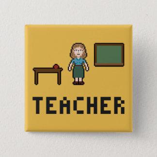 Pixel-Schullehrer-Knopf Quadratischer Button 5,1 Cm