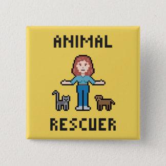Pixel-Tier-Retter Quadratischer Button 5,1 Cm