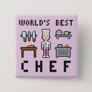 Pixel-weiblicher bester Koch Quadratischer Button 5,1 Cm