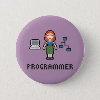 Pixel-weiblicher Programmierer-runder Knopf Runder Button 5,1 Cm