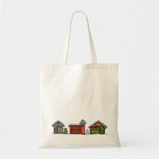 Pixel-Weihnachtsdorf-Tasche Tragetasche