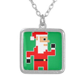 Pixel Weihnachtsmann Versilberte Kette