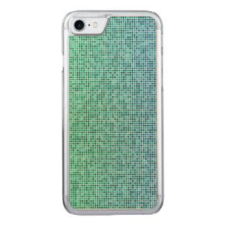 Pixelentwurf des blauen Grüns Carved iPhone 8/7 Hülle
