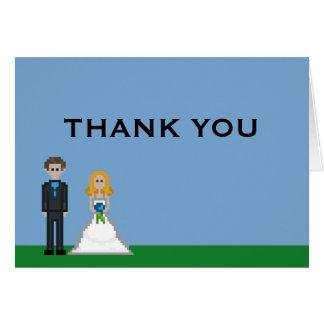 Pixelgamer-Braut-u. Bräutigam-Hochzeit danken Mitteilungskarte