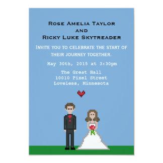 Pixelgamer-Braut-u. Bräutigam-Hochzeit laden ein 12,7 X 17,8 Cm Einladungskarte
