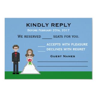 Pixelgamer-Braut-u. Bräutigam-Hochzeit UAWG Karten 8,9 X 12,7 Cm Einladungskarte