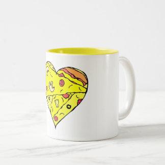 Pizza-Herz-Tasse Zweifarbige Tasse