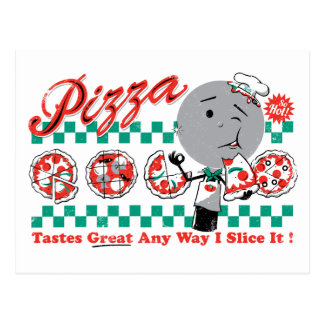 Pizza irgendeine Scheibe der Weisen-I, die sie Postkarte