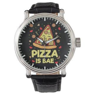 Pizza ist Bae - lustiger Cartoon - Neuheit Uhr