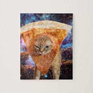 Pizza-Katze in Raum-tragender Pizza-Scheibe Puzzle