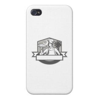 Pizza-Kochs-Pizza-Mondpalmetto-Baum-Schild Retro iPhone 4 Case