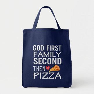 Pizza-Liebe der Gott-erste Familien-zweite dann Tragetasche