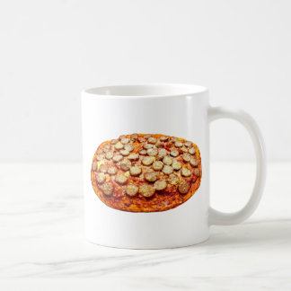 Pizza mit Pepperonis und Wurst Kaffeetasse