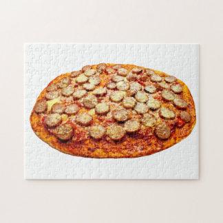 Pizza mit Pepperonis und Wurst Puzzle