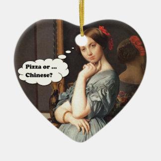 Pizza oder Chinese? Keramik Herz-Ornament
