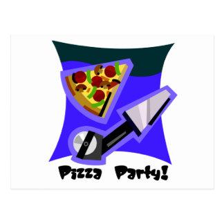 Pizza-Party 4 Postkarte