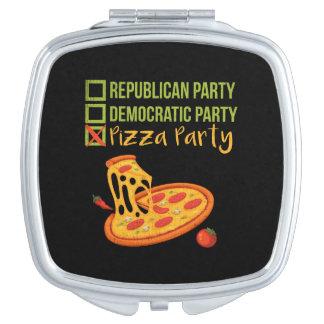 Pizza-Party - lustige Neuheits-Abstimmung Taschenspiegel