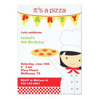 Pizza-Party-Mädchen-Einladungen