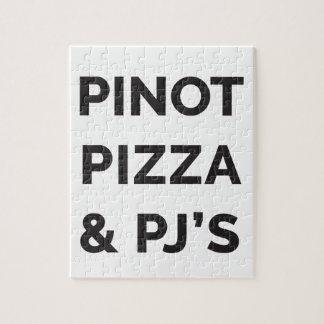 Pizza, Pinot und lustiger Wein-Druck PJS Puzzle