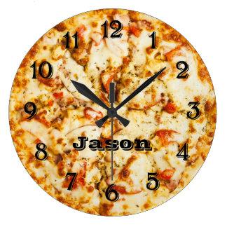 Pizza rechtzeitig bereit zu gehen große wanduhr