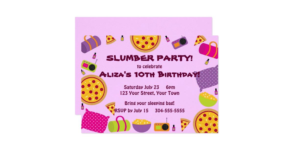 pizza und pyjama party einladung zazzle. Black Bedroom Furniture Sets. Home Design Ideas