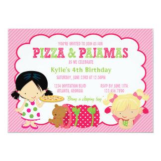 Pizza-und Pyjamassleepover-Party Einladungskarten
