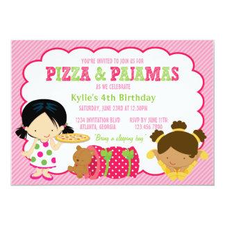 Pizza-und Pyjamassleepover-Party Personalisierte Ankündigungskarten