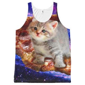 Pizzakatze - niedliche Katzen - Kitty - Kätzchen Komplett Bedrucktes Tanktop
