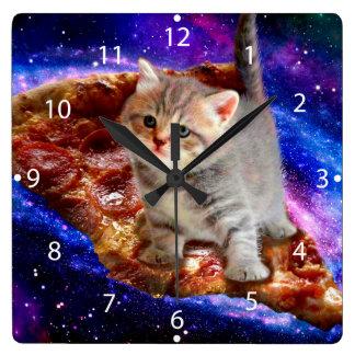Pizzakatze - niedliche Katzen - Kitty - Kätzchen Quadratische Wanduhr