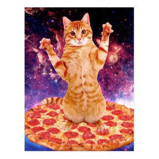 Pizzakatze - orange Katze - sperren Sie Katze Postkarte