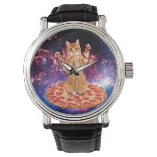Pizzakatze - orange Katze - sperren Sie Katze Uhr