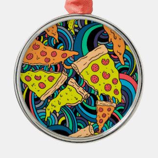 Pizzamuster Rundes Silberfarbenes Ornament