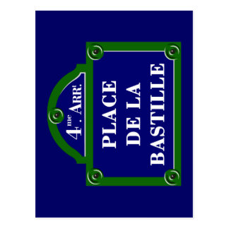 Place de la Bastille, Paris-Straßenschild Postkarte